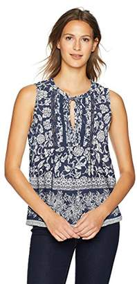 Lucky Brand Women's V Neck Sleeveless Print LACE Mix TOP