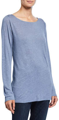 Eileen Fisher Plus Size Bateau-Neck Long-Sleeve Organic Linen Top