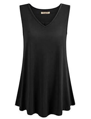 Cyanstyle Womens Sleeveless V Neck Floral Flowy Tank Top Print Flowy Tunic Shirts M