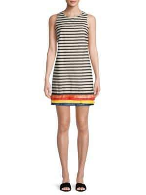 Striped Frayed Cotton Shift Dress