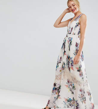 4e78ae2a39 Little Mistress Tall pleated maxi dress in floral print in cream multi