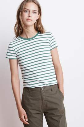 Velvet by Graham & Spencer LIPPA STRIPE KNIT DISTRESSED TEE