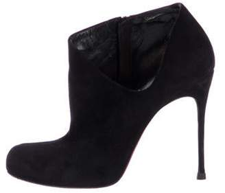 Christian Louboutin Suede Round-Toe Cut-Out Booties Black Suede Round-Toe Cut-Out Booties