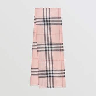 Burberry Lightweight Check Wool and Silk Scarf, Purple