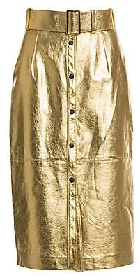 MSGM Women's Faux-Leather Button-Front Midi Skirt