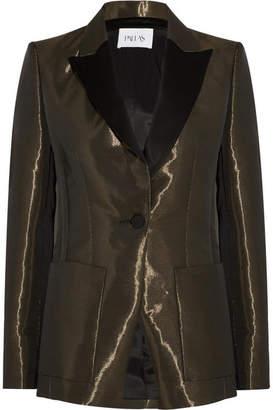 Metallic Crepe Tuxedo Blazer - Bronze