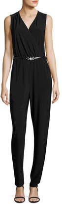 NIC+ZOE Sleeveless Luxe Jersey Belted Jumpsuit $188 thestylecure.com