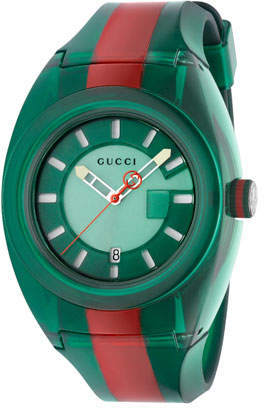 Gucci 46mm Sync Sport Watch w/ Rubber Strap, Green/Red