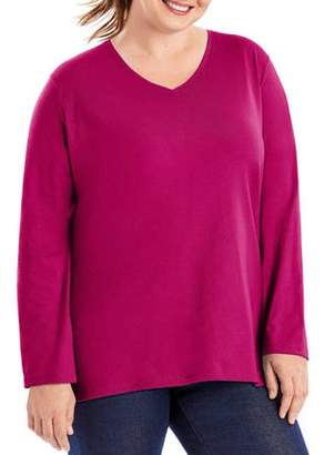 Just My Size Plus-Size Women's Long-Sleeve V-neck Tee