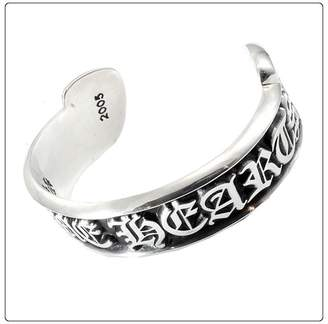 Chrome Hearts 925 Sterling Silver Scroll Label Bangle Bracelet