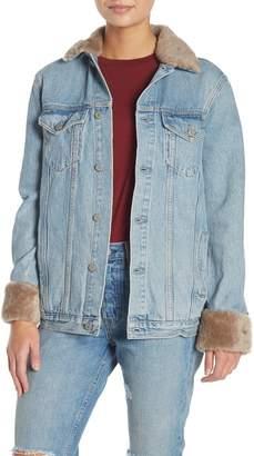 GRLFRND Daria Genuine Sheep Fur Trimmed Denim Jacket