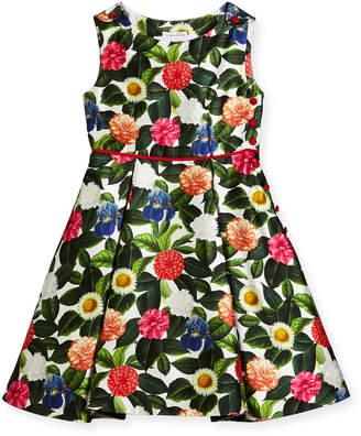 Oscar de la Renta Mikado Flower Jungle Dress w\/ Buttons & Pleats Size 2-14