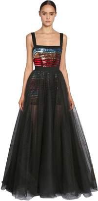 Elie Saab Sequin Embellished Tulle Dress