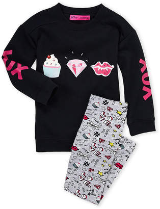 Betsey Johnson Girls 4-6x) Two-Piece Black Graphic Sweatshirt & Printed Leggings Set