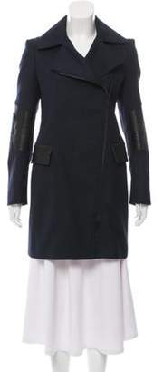 Belstaff Leather-Trimmed Wool Coat Navy Leather-Trimmed Wool Coat