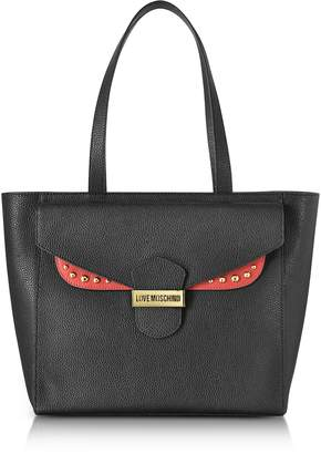 Love Moschino Double Flap Color Block Eco Leather Tote Bag