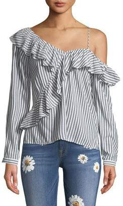Cupcakes And Cashmere Jessilyn Striped Ruffle One-Shoulder Top