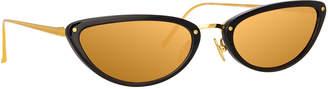 Linda Farrow Slim Two-Tone Cat-Eye Mirrored Sunglasses, Black Pattern
