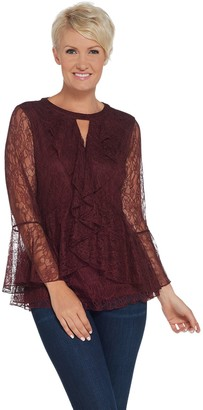 Isaac Mizrahi Live! Chantilly Lace Ruffle Top w/ Keyhole Neck