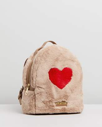 Love Moschino Eco-Shearling Backpack With Heart