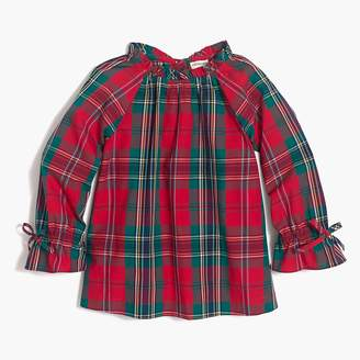 J.Crew Girls' long-sleeve ruffle-neck top in holiday plaid