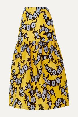 Carolina Herrera Tiered Floral-print Silk-organza Midi Skirt - Yellow