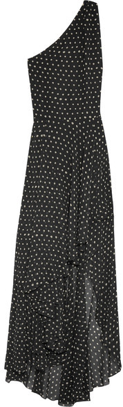 Saint Laurent Saint Laurent - One-shoulder Asymmetric Polka-dot Silk-georgette Gown - Black