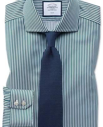 Charles Tyrwhitt Extra slim fit non-iron cutaway collar teal twill stripe shirt