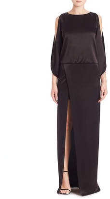 Halston Solid Boatneck Gown