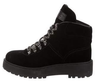 9b8d960e3ff Velvet Lace Up Combat Boots - ShopStyle