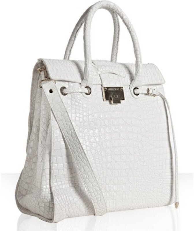 Jimmy Choo white croc embossed leather 'Rosabel' structured tote