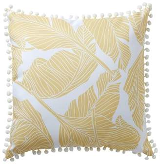 "ENCHANTE Leaf Print Outdoor Pillow - Yellow - 16"" x 16\"""