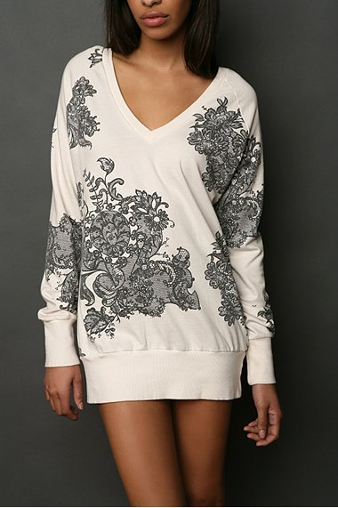Truly Madly Deeply Printed Lace V Neck Tunic