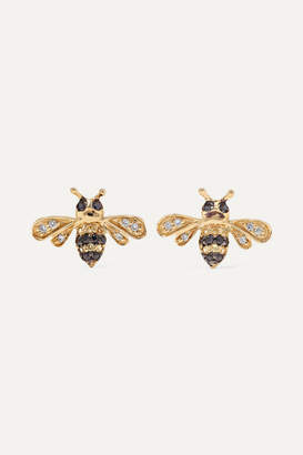 Sydney Evan Mini Bee 14 Karat Gold Diamond And Shire Earrings One Size
