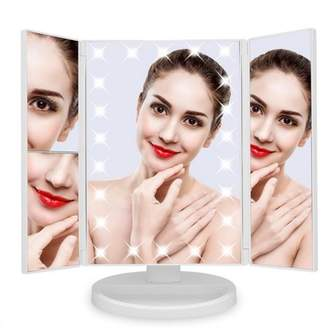 Qiilu 22 Led Touch Switch Cosmetic Mirror, Portable 180 Rotatable Vanity Mirror, Tray Detachable Adjustable Brightness Desktop Vanity Mirror +10X Magnifying Round Mirror, Battery/USB Powered