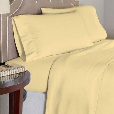 Bed Bath & Beyond Pointehaven 175 GSM Solid Flannel Twin Sheet Set in Yellow