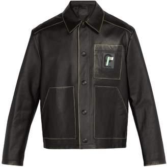 Prada Logo-patch leather jacket