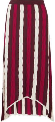 Marni Asymmetric Striped Wool Maxi Skirt - Red