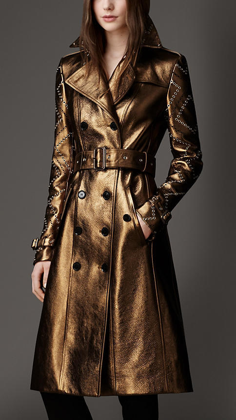 Burberry Long Eyelet Detail Metallic Leather Trench Coat