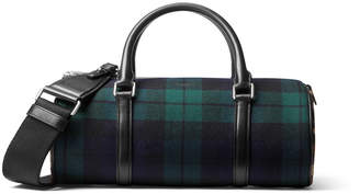 Michael Kors Tartan Eva Plaid Leopard-Print Barrel Bag