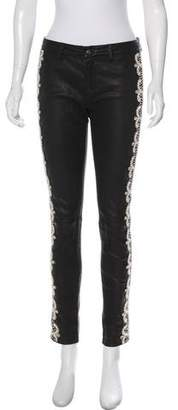Haute Hippie Peal Embellished Leather Mid-Rise Skinny Jeans