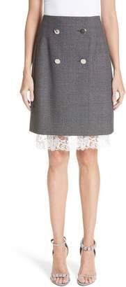 Calvin Klein Lace Trim Wool Skirt