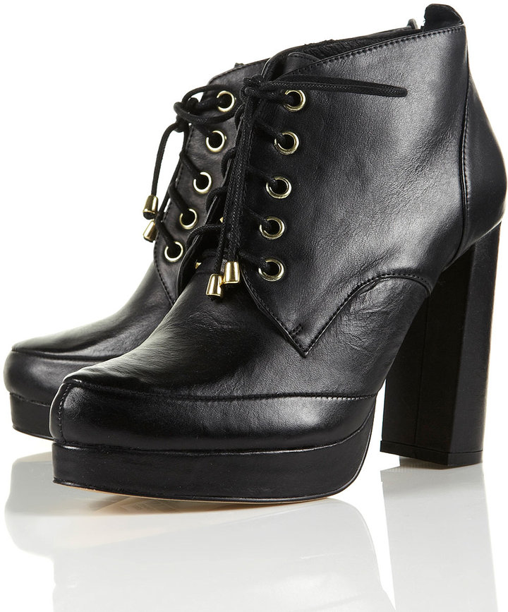 Topshop ADDER Lace Up Flare Heel Boots