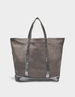 Vanessa Bruno Washed Leather and Sequins Medium + Tote Bag in Acier Cowhide