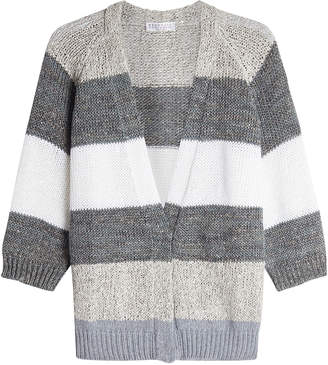 Brunello Cucinelli Striped Cardigan with Linen, Silk and Virgin Wool