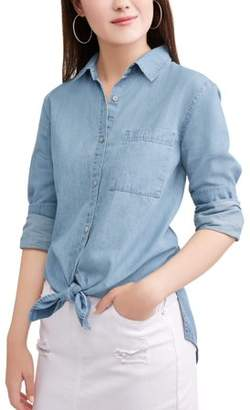 Highway Jeans Juniors' Denim Tie Front Hi-Low Blouse