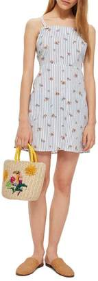 Topshop Stripe Floral Mini Pinafore Dress