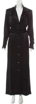 Saint Laurent Satin Belted Jacket Black Satin Belted Jacket