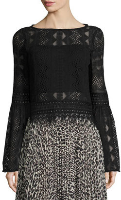 Nanette Lepore Bell-Sleeve Boxy Patterned Lace Top, Black $378 thestylecure.com