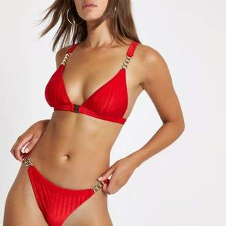River Island Red chain triangle clip front bikini top
